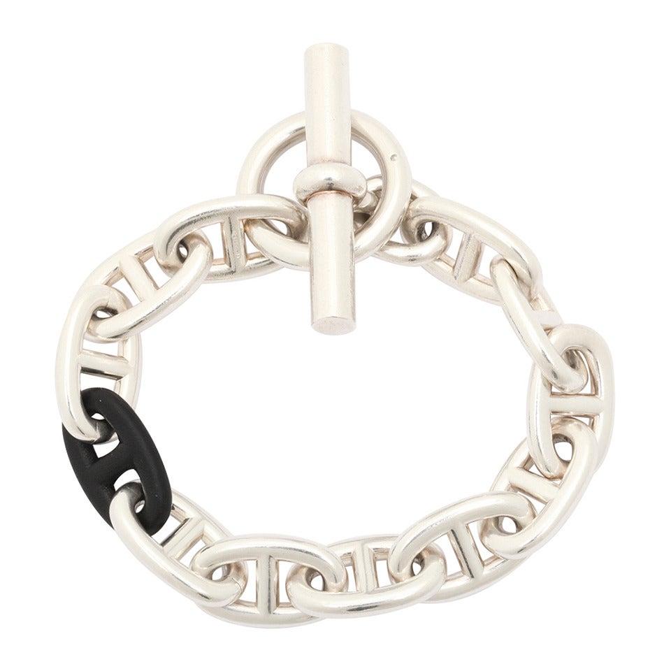 gold hermes sterling silver chaine d 39 ancre bracelet. Black Bedroom Furniture Sets. Home Design Ideas