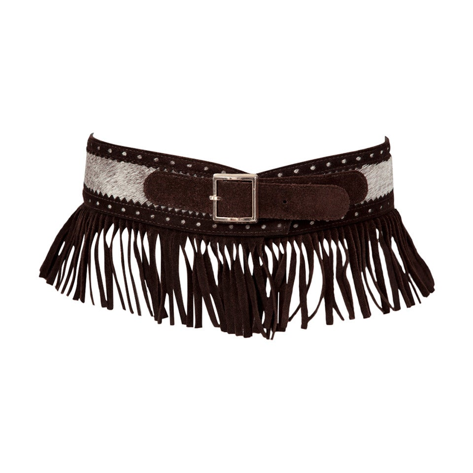 Yves Saint Laurent Pony Skin & Suede Fringed Belt 1
