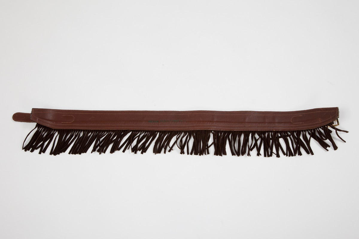 Yves Saint Laurent Pony Skin & Suede Fringed Belt 5
