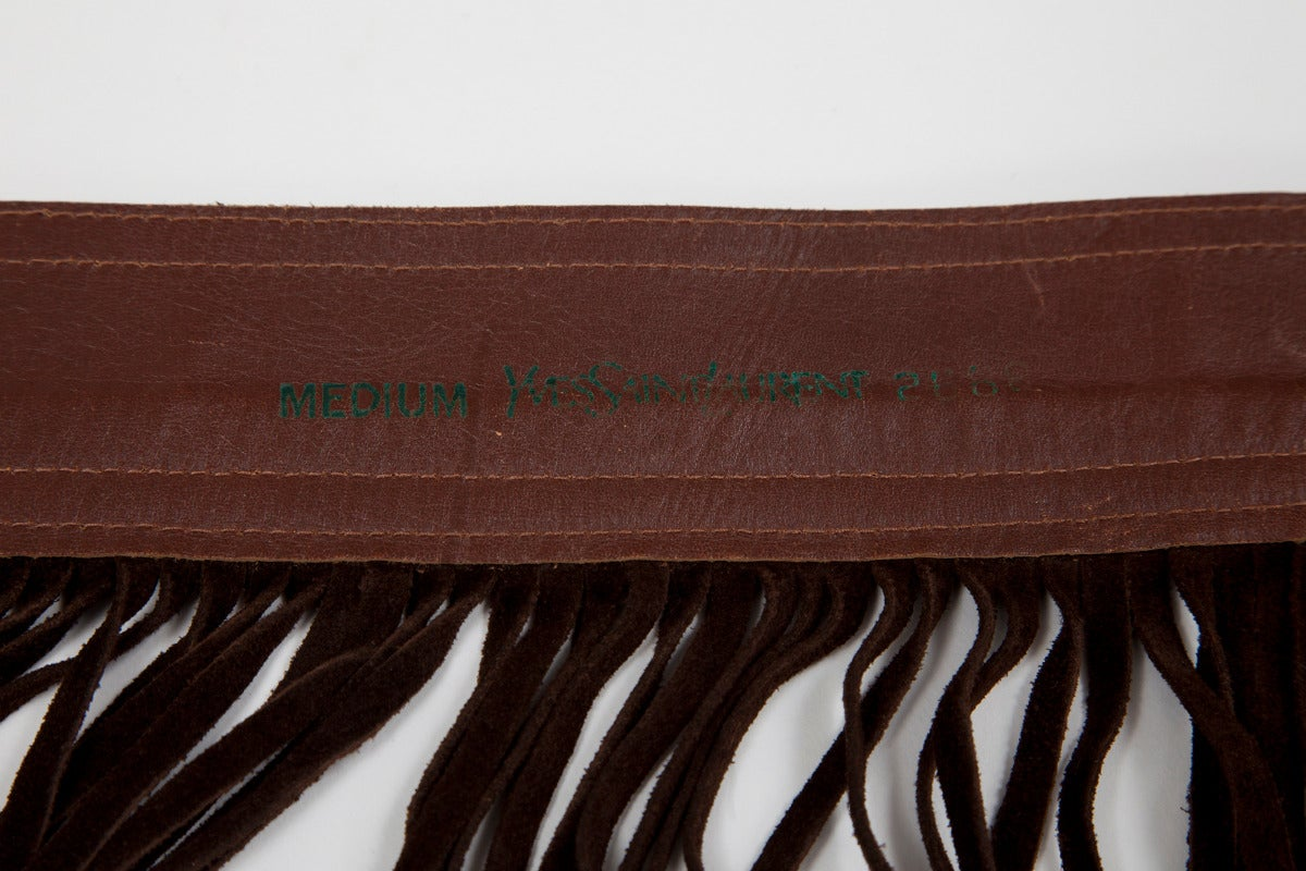 Yves Saint Laurent Pony Skin & Suede Fringed Belt 6