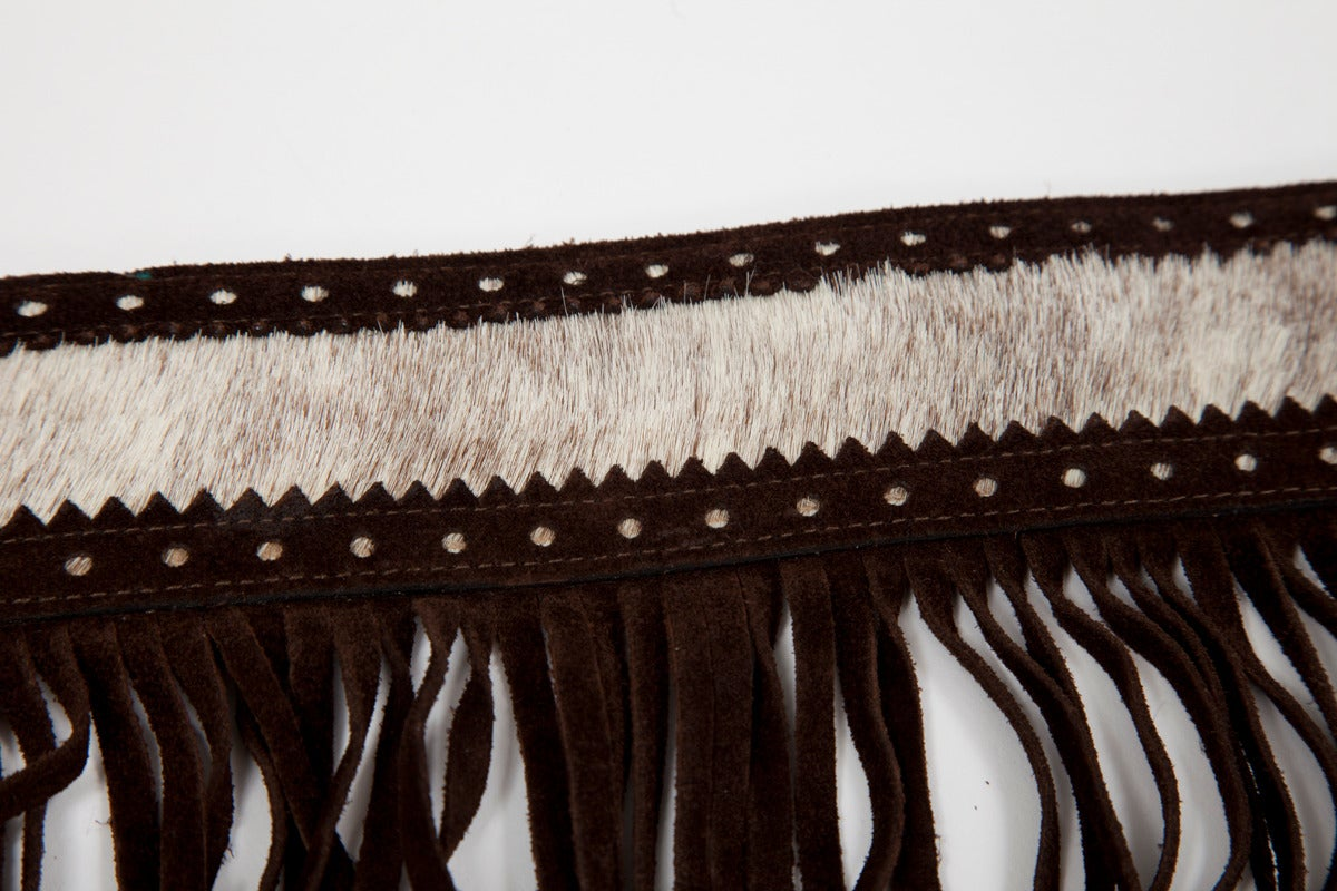 Yves Saint Laurent Pony Skin & Suede Fringed Belt 3