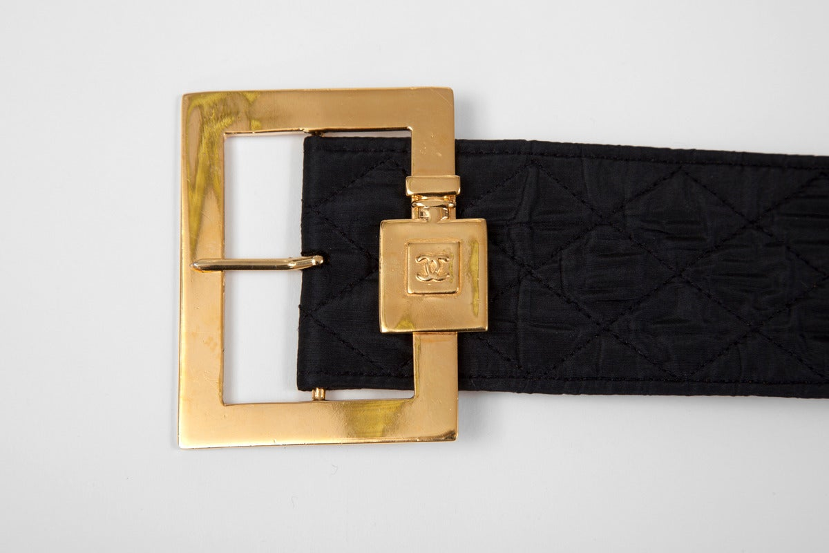 Black Chanel Leather & Silk Quilted Thick Belt For Sale