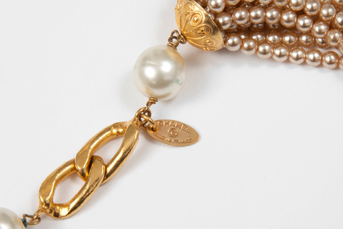 Chanel Goldtone Link Chain Belt With Pearls 5