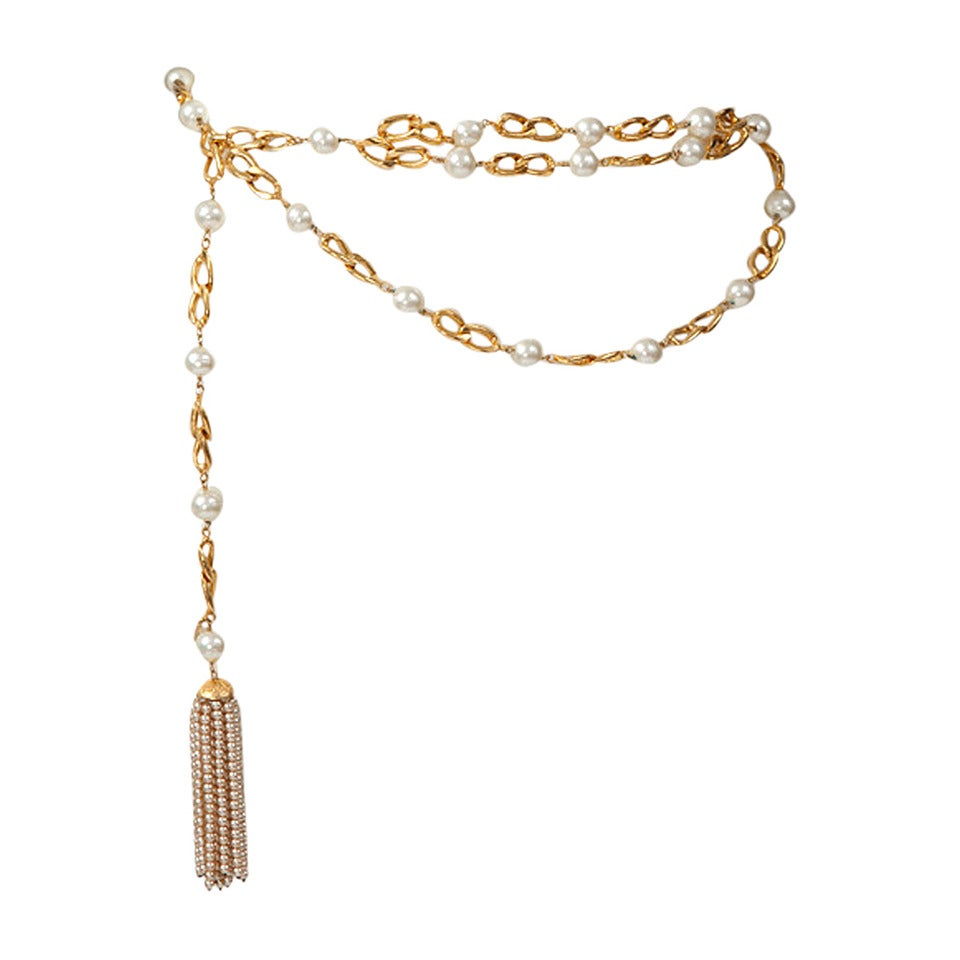 Chanel Goldtone Link Chain Belt With Pearls For Sale