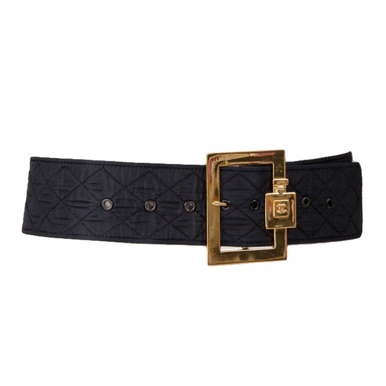 Chanel Leather & Silk Quilted Thick Belt For Sale