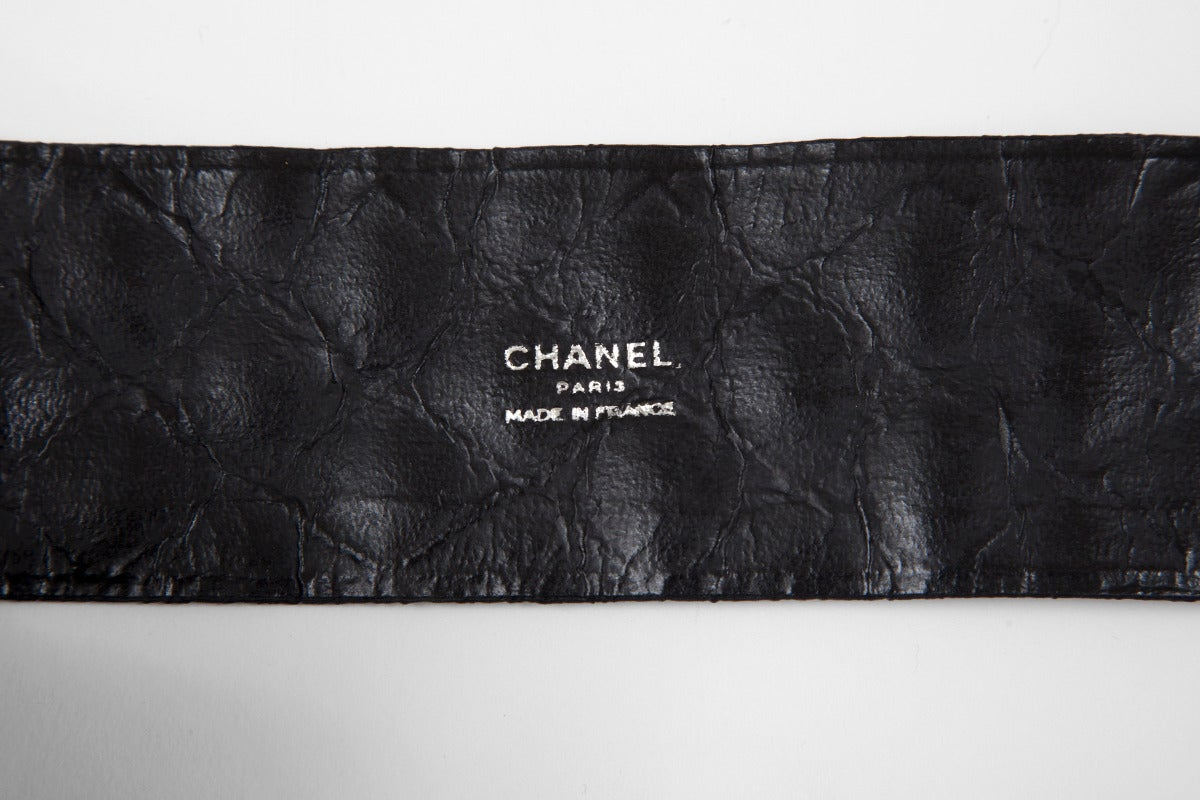 Chanel Leather & Silk Quilted Thick Belt For Sale 1