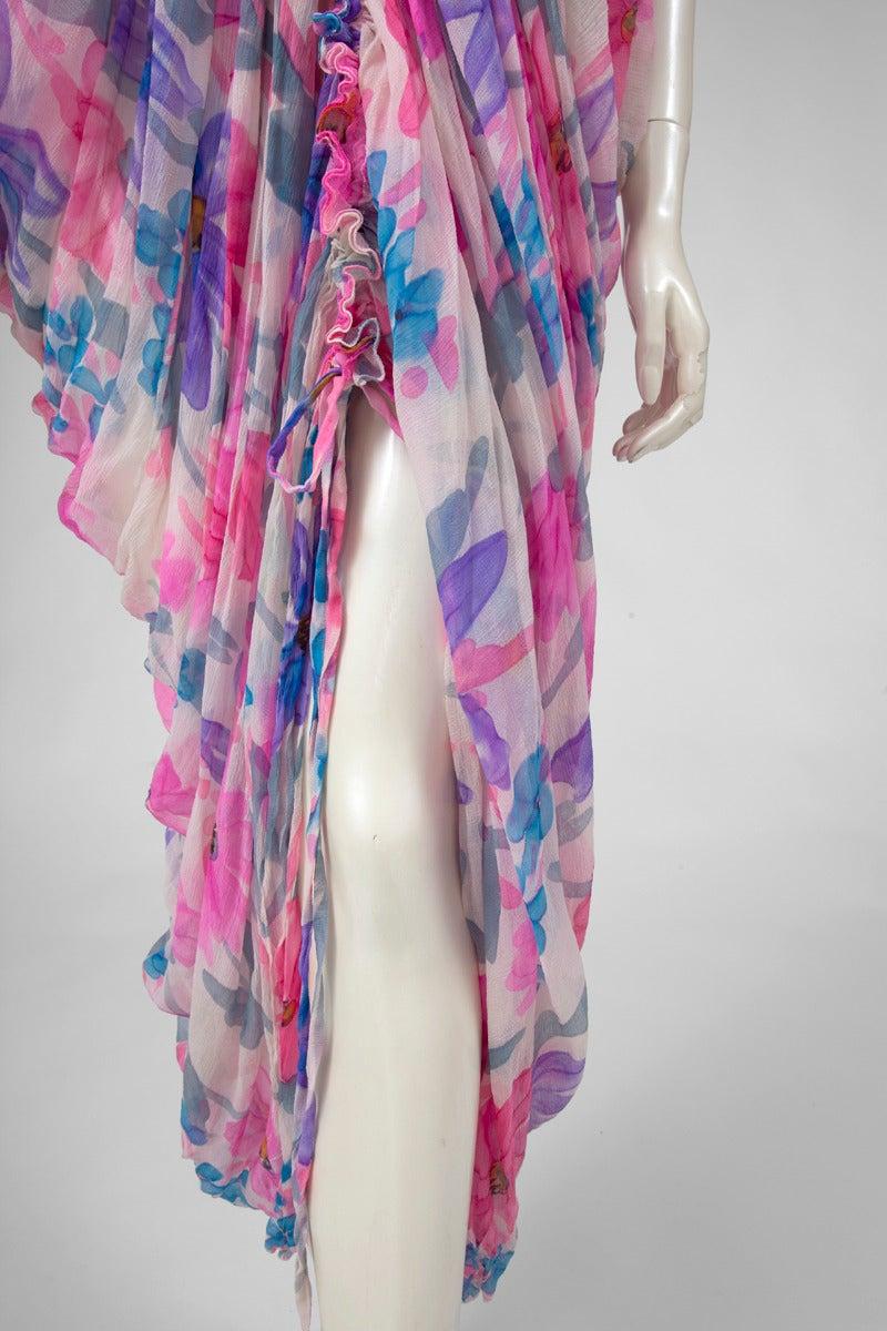 Purple Jean Patou Printed Silk Chiffon Caftan For Sale
