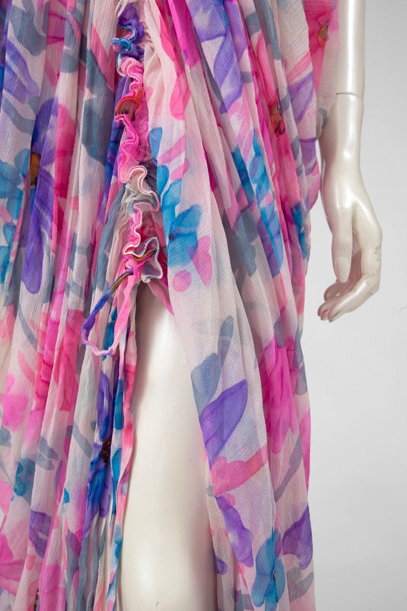Jean Patou Printed Silk Chiffon Caftan In Excellent Condition For Sale In Geneva, CH