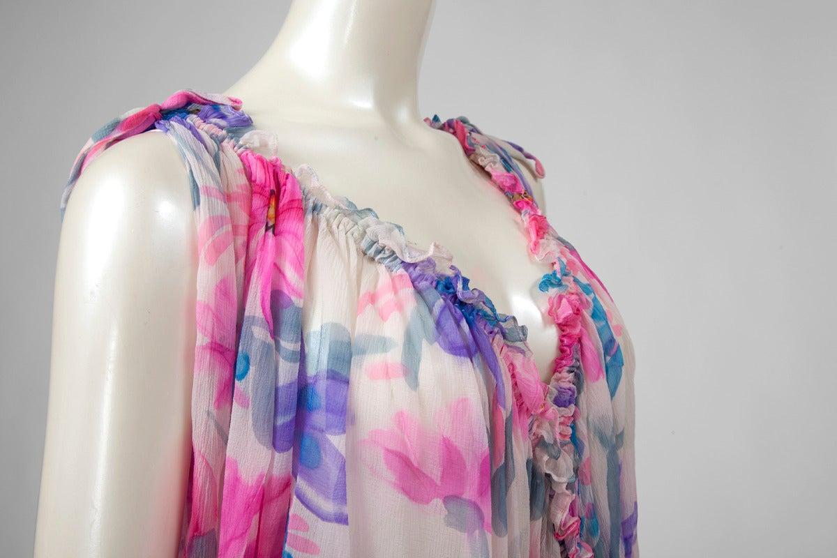 Jean Patou Printed Silk Chiffon Caftan For Sale 1