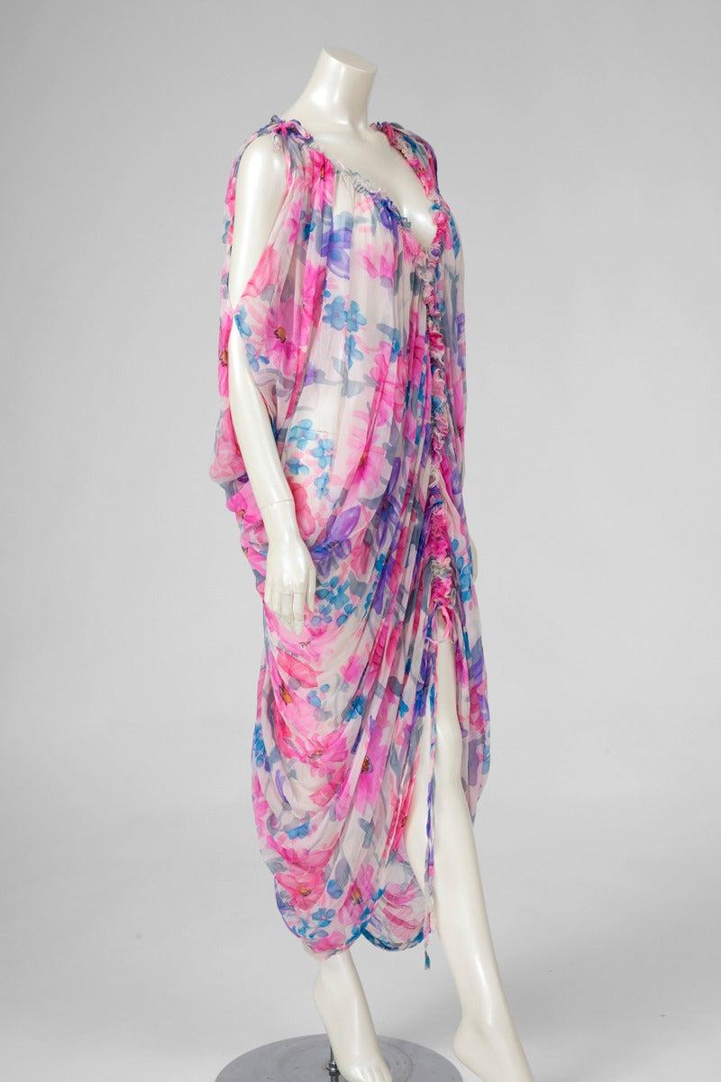 Women's Jean Patou Printed Silk Chiffon Caftan For Sale
