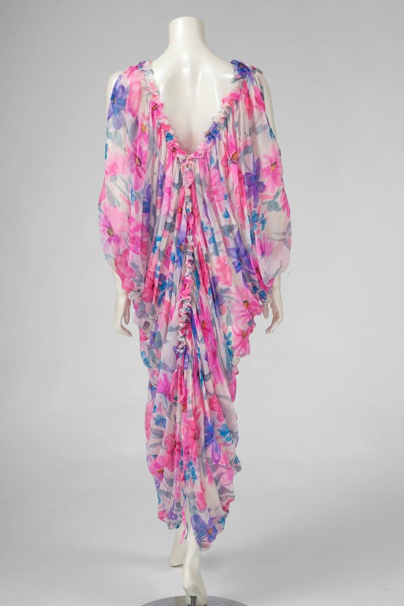 Jean Patou Printed Silk Chiffon Caftan For Sale 2