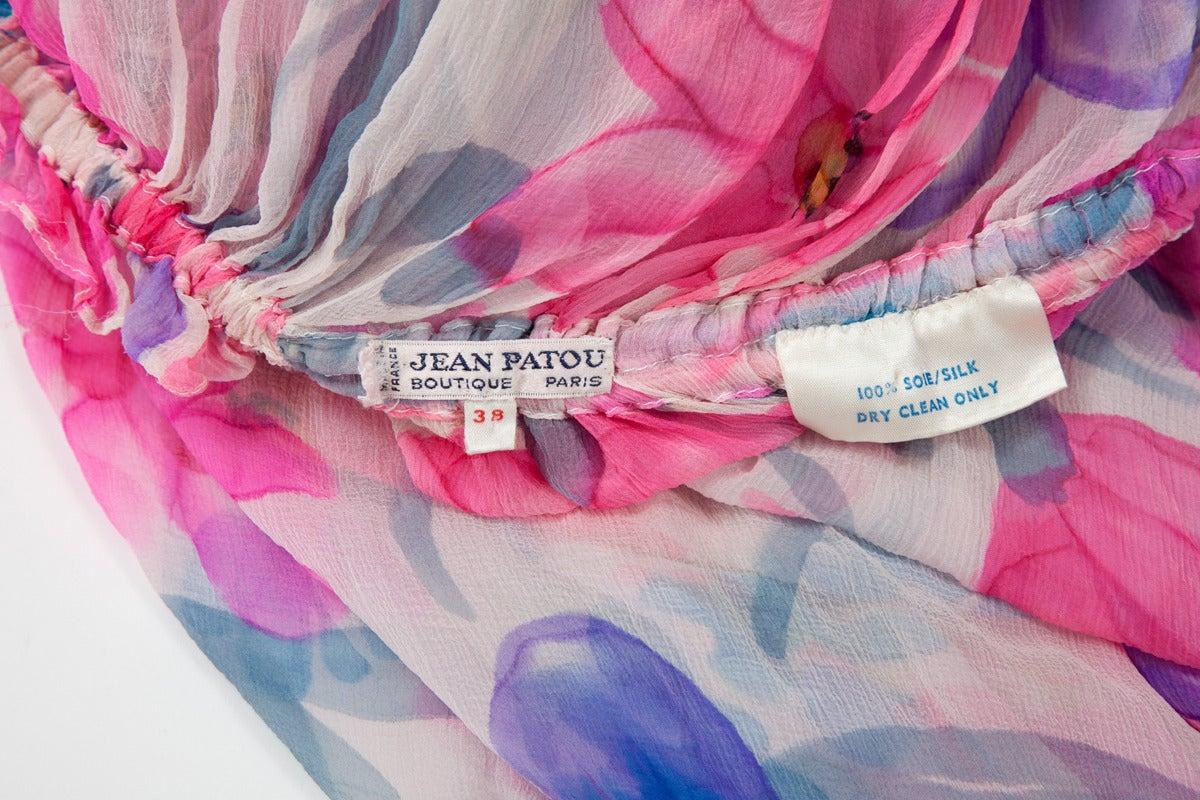 Jean Patou Printed Silk Chiffon Caftan For Sale 5