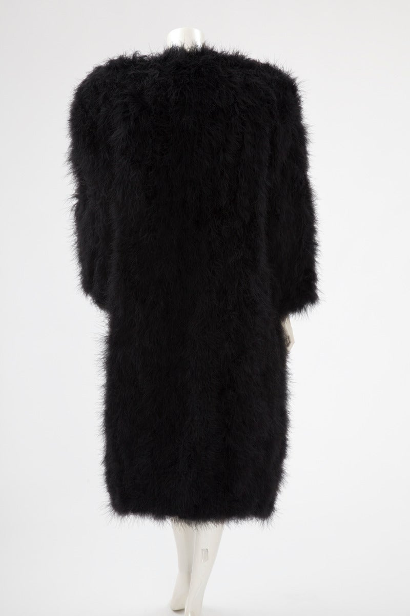 Black Sonia Rykiel Marabou Feather Coat For Sale