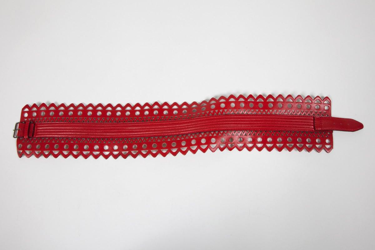 Alaia Laser Cut Leather Corset Belt 3