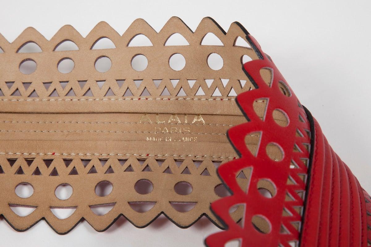 Alaia Laser Cut Leather Corset Belt 6