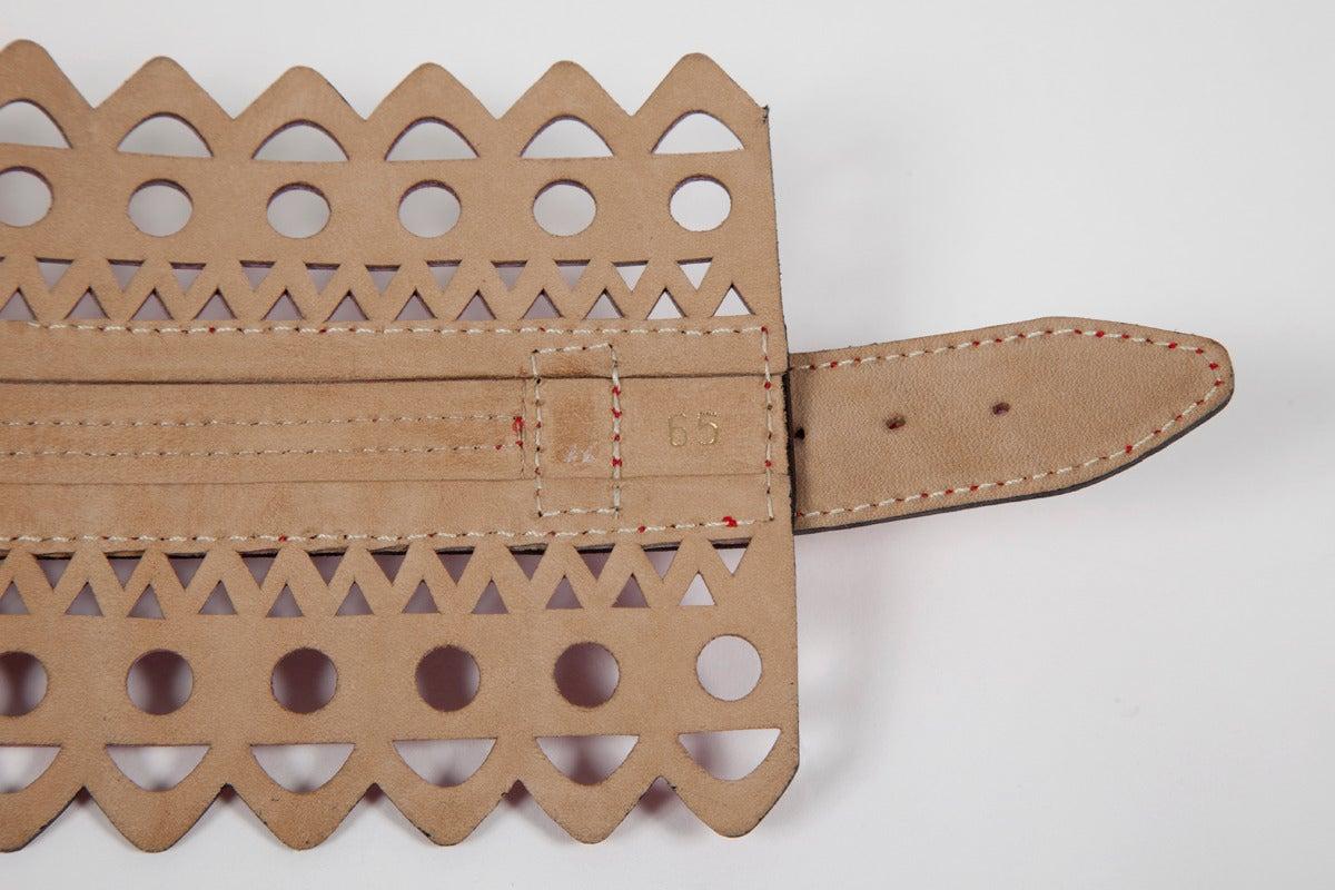 Alaia Laser Cut Leather Corset Belt 5