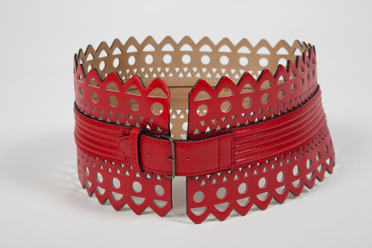 Alaia Laser Cut Leather Corset Belt 2