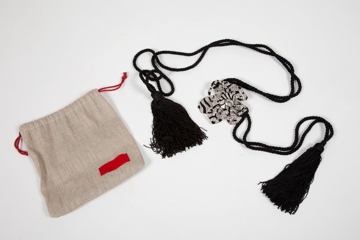 Black New Valentino Flower Tassel Belt For Sale