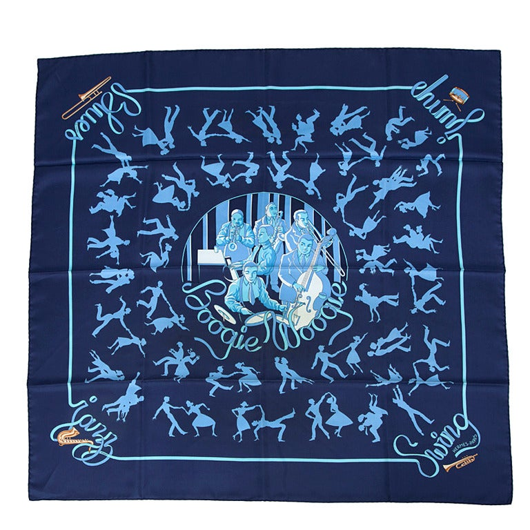 "2003 Hermes ""Boogie Woogie"" Silk Twill Carré Scarf For Sale"