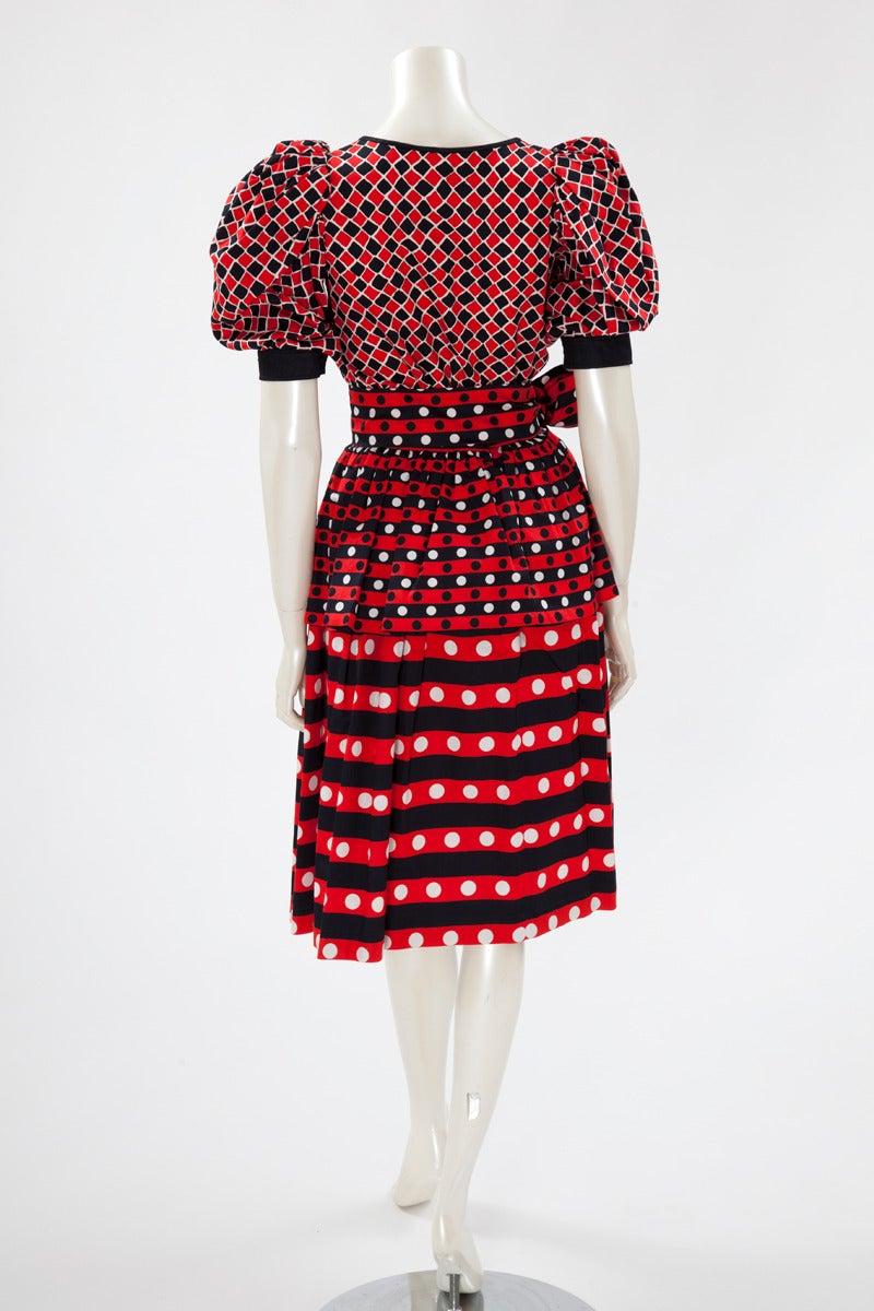 Women's Yves Saint Laurent Harlequin Cotton Ensemble For Sale