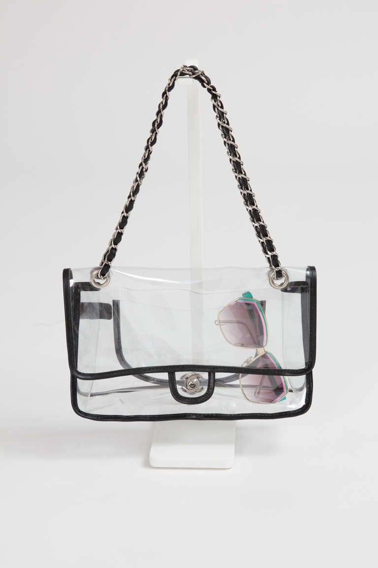 Chanel Vinyl Double Chain Shoulder Flap Bag At 1stdibs
