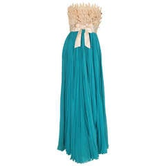 1960's Evelyn Byrnes Evening Silk Chiffon Strapless Gown
