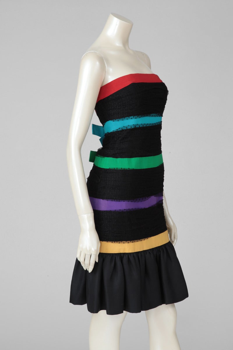 Yves Saint Laurent Strapless Cocktail Dress In Excellent Condition For Sale In Geneva, CH