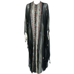 Thea Porter Couture Embroidered Silk Chiffon Caftan