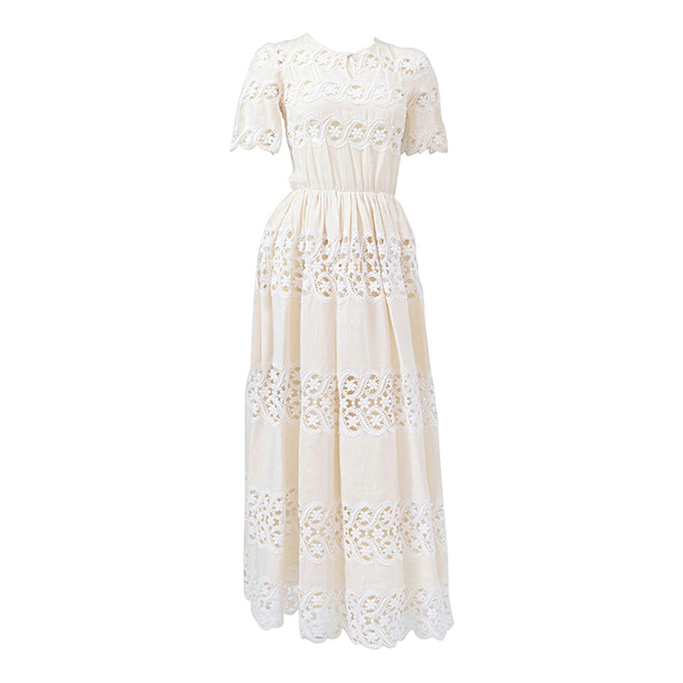 Valentino Haute Couture Cotton & Guipure Dress 1