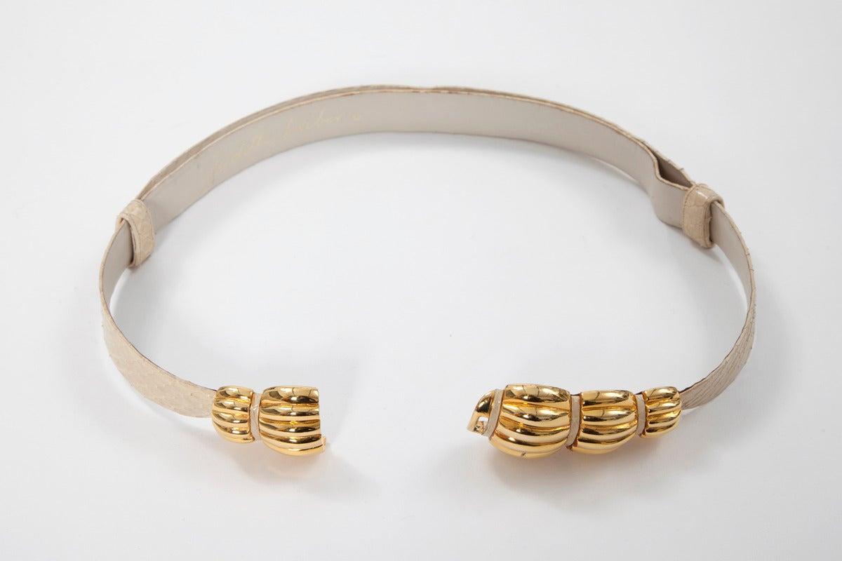 Judith Leiber Snakeskin & Gilt Metal Belt 3