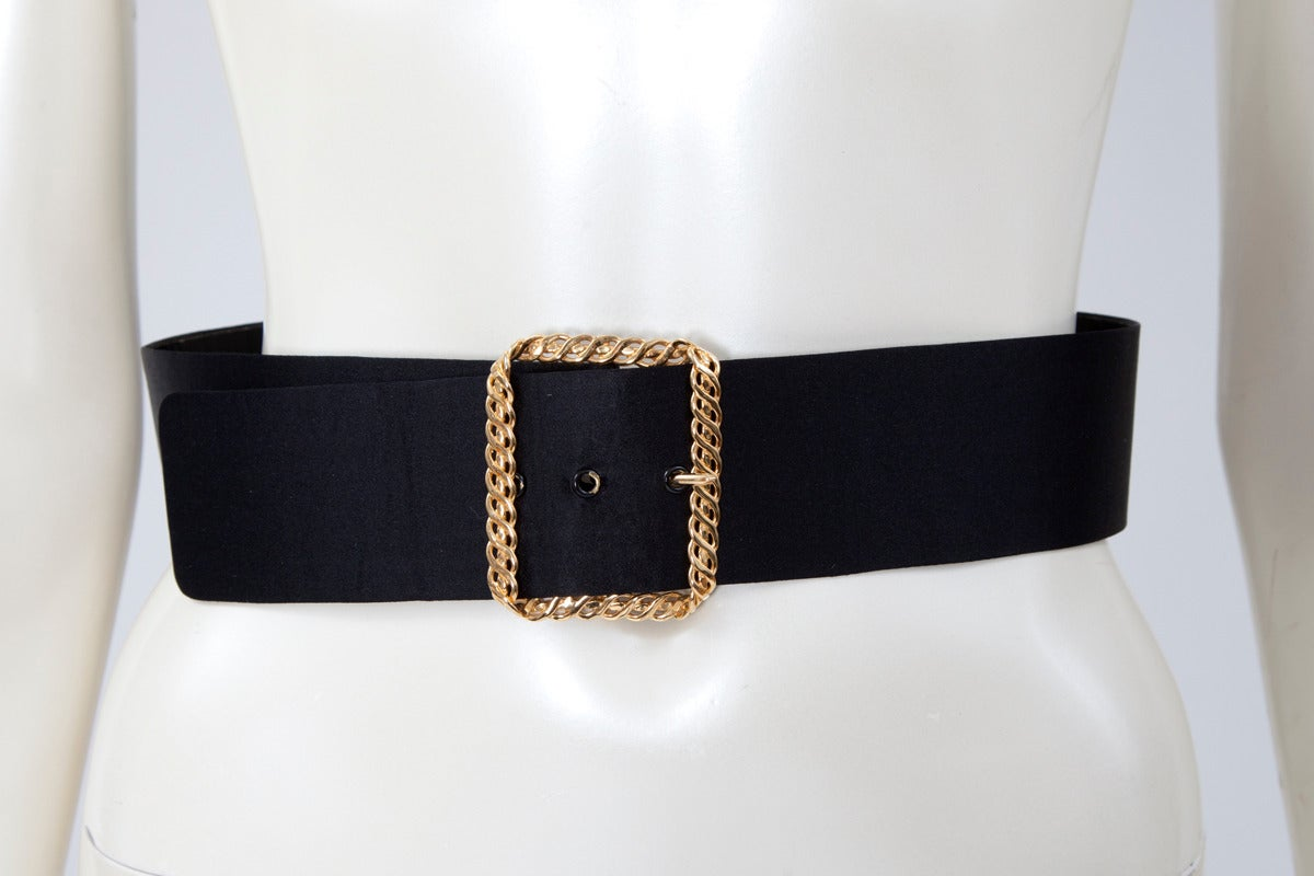 Black Chanel Bow-Embellished Leather & Silk Waist Belt, Spring-Summer 1993 For Sale