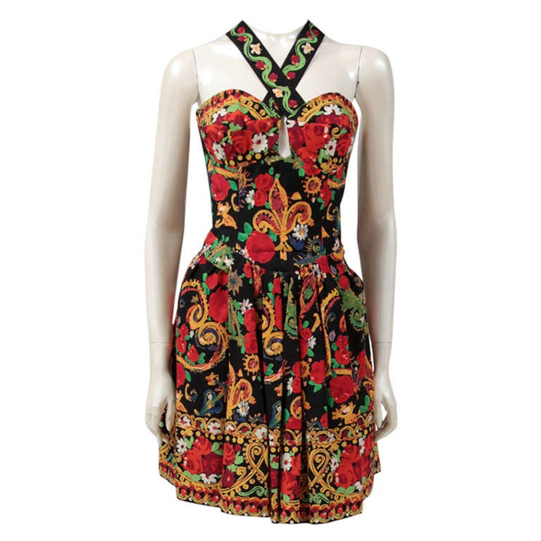 Documented Christian Lacroix Cotton & Rhinestone Print Dress, Spring-Summer 1992
