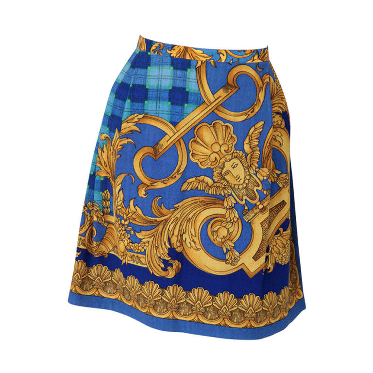 Versace Couture Light Wool Baroque Print Skirt
