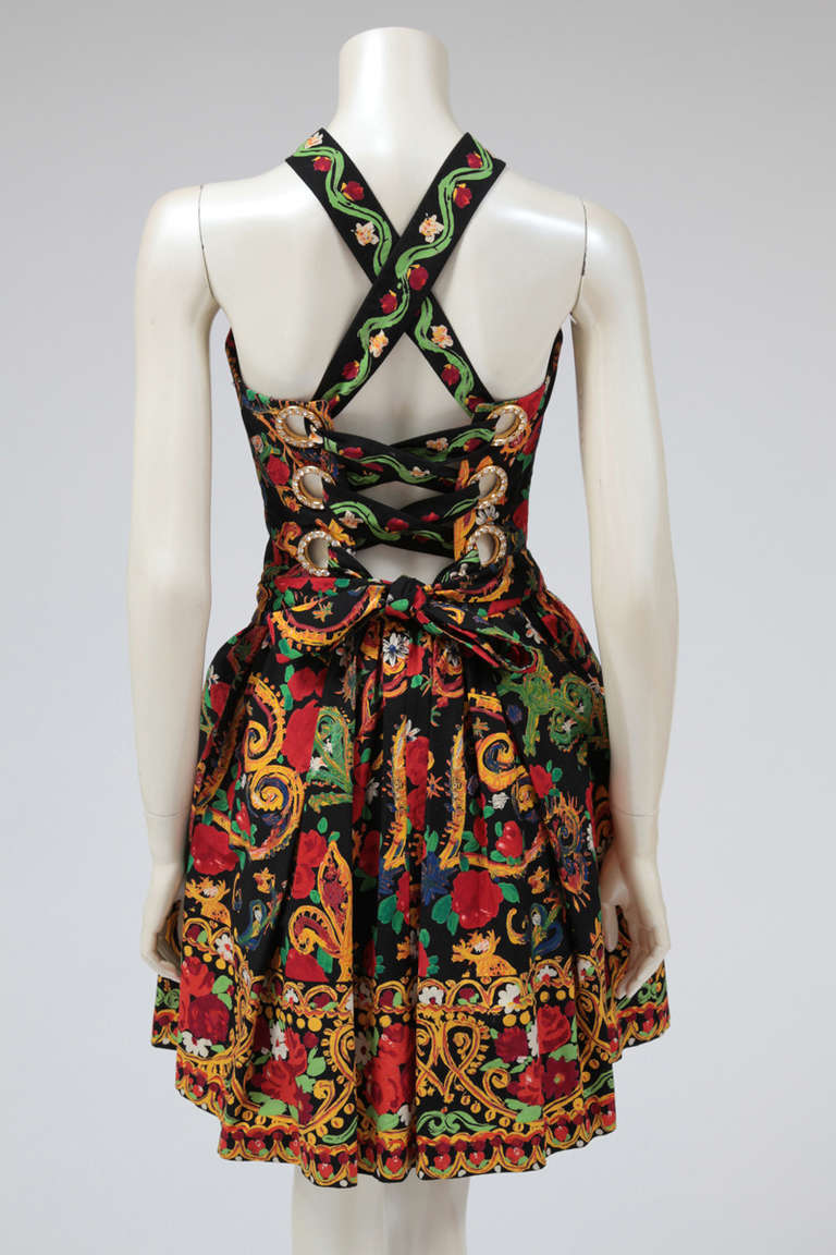 Christian Lacroix Cotton & Rhinestone Print Dress In Excellent Condition For Sale In Geneva, CH