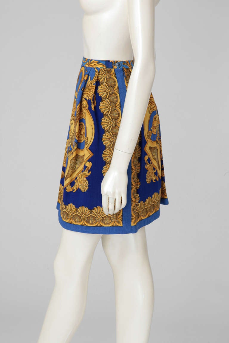 Versace Couture Light Wool Baroque Print Skirt 2