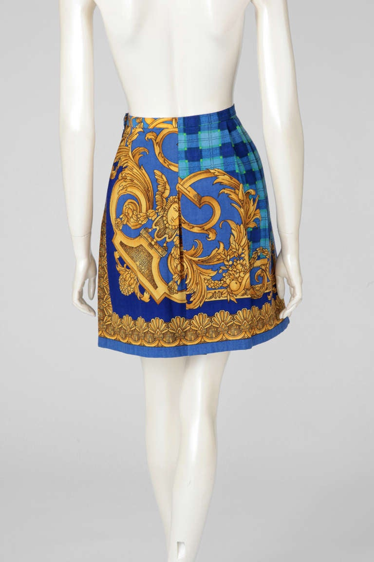 Versace Couture Light Wool Baroque Print Skirt 3