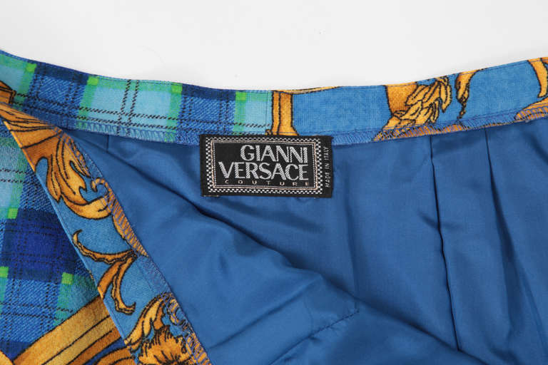 Versace Couture Light Wool Baroque Print Skirt 4