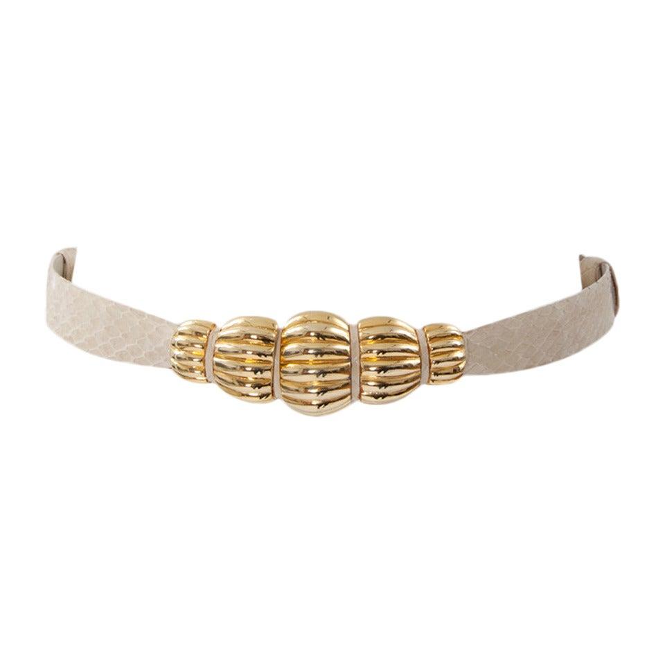 Judith Leiber Snakeskin & Gilt Metal Belt
