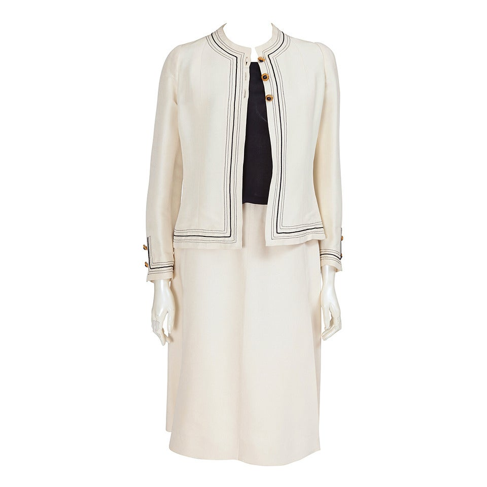 Gabrielle Chanel Haute Couture Three Piece Skirt Suit, Circa 1968-1970 For Sale