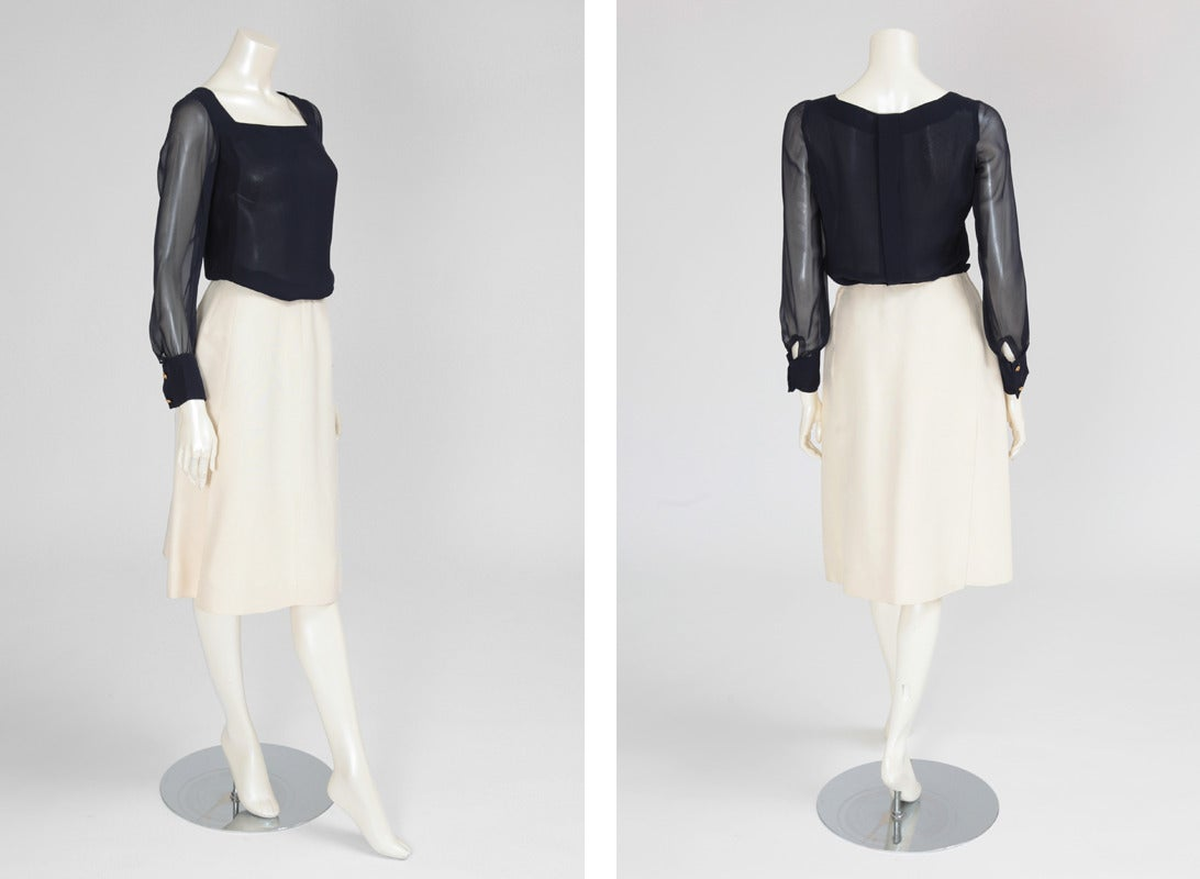 Gabrielle Chanel Haute Couture Three Piece Skirt Suit, Circa 1968-1970 For Sale 2