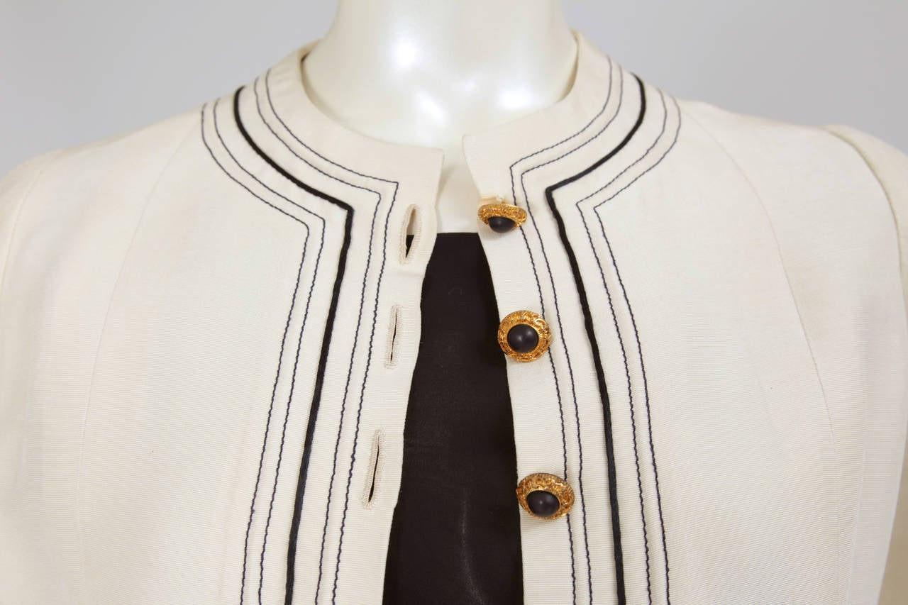 Beige Gabrielle Chanel Haute Couture Three Piece Skirt Suit, Circa 1968-1970 For Sale