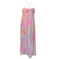 Leonard Printed Silk Chiffon Halter Neck Long Dress
