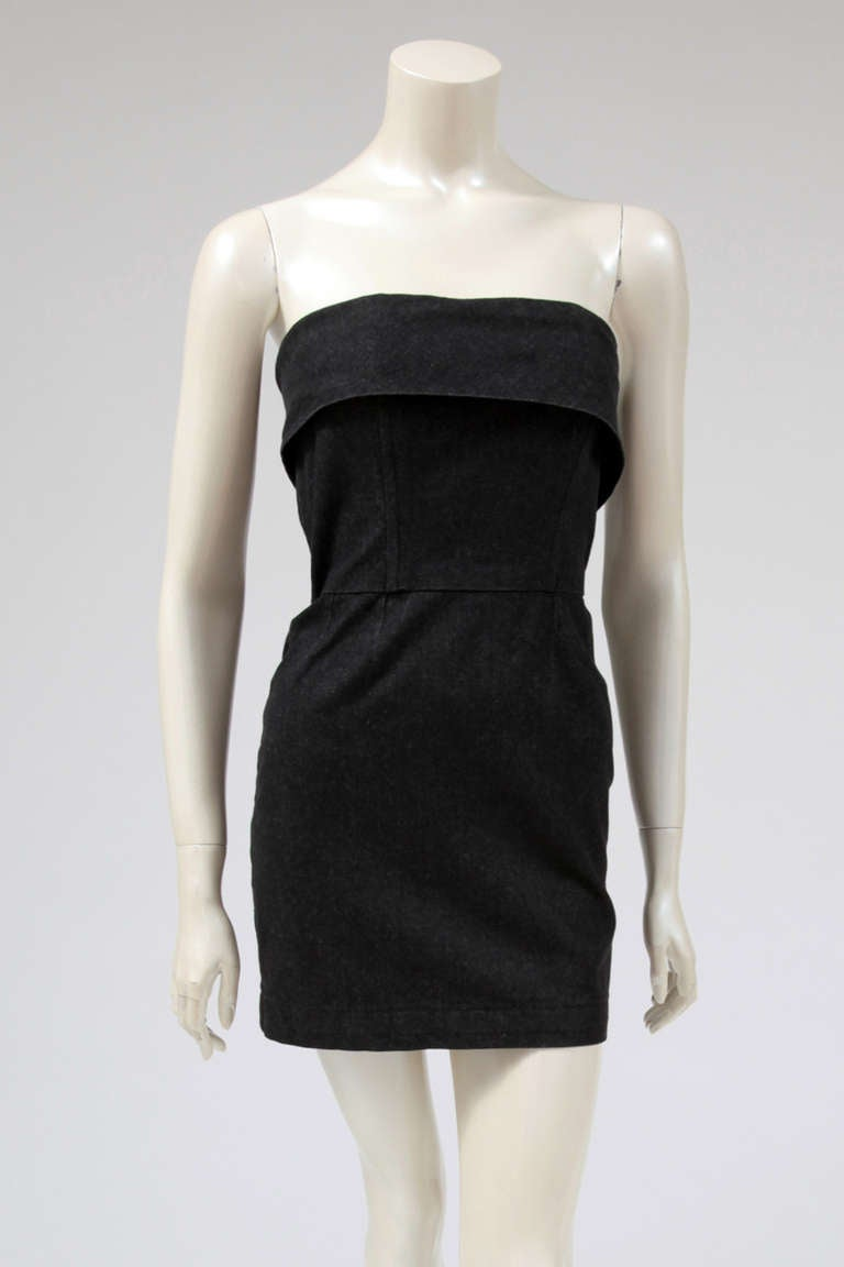 Yves Saint Laurent Denim Strapless Mini Dress 2