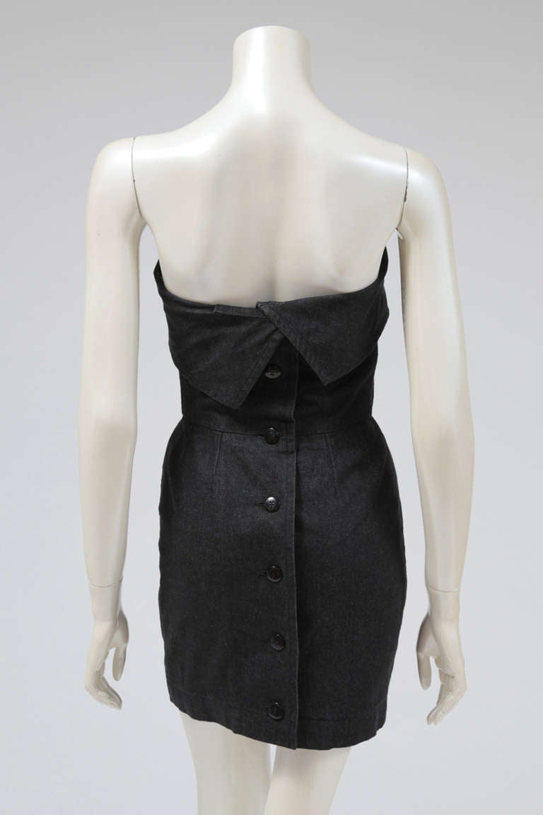 Yves Saint Laurent Denim Strapless Mini Dress 4