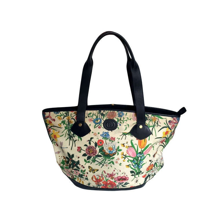 ec0e5df9944f Early 80's lovely large navy blue leather and canvas Flora print vintage tote  bag. This