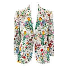 Gucci Flora Print Linen Blazer
