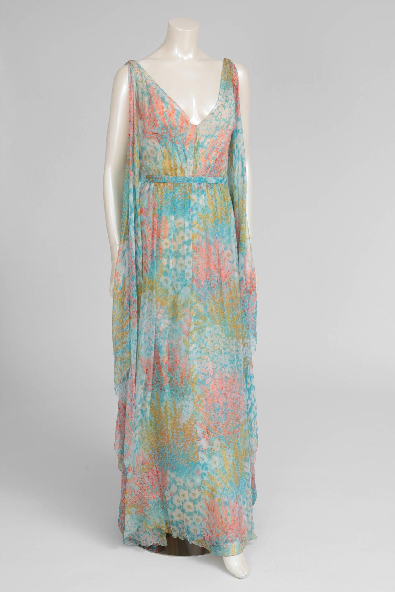Chanel haute couture printed silk chiffon gown circa 1970 for Haute couture sale