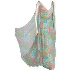 Chanel Haute Couture Printed Silk Chiffon Gown, Circa 1970