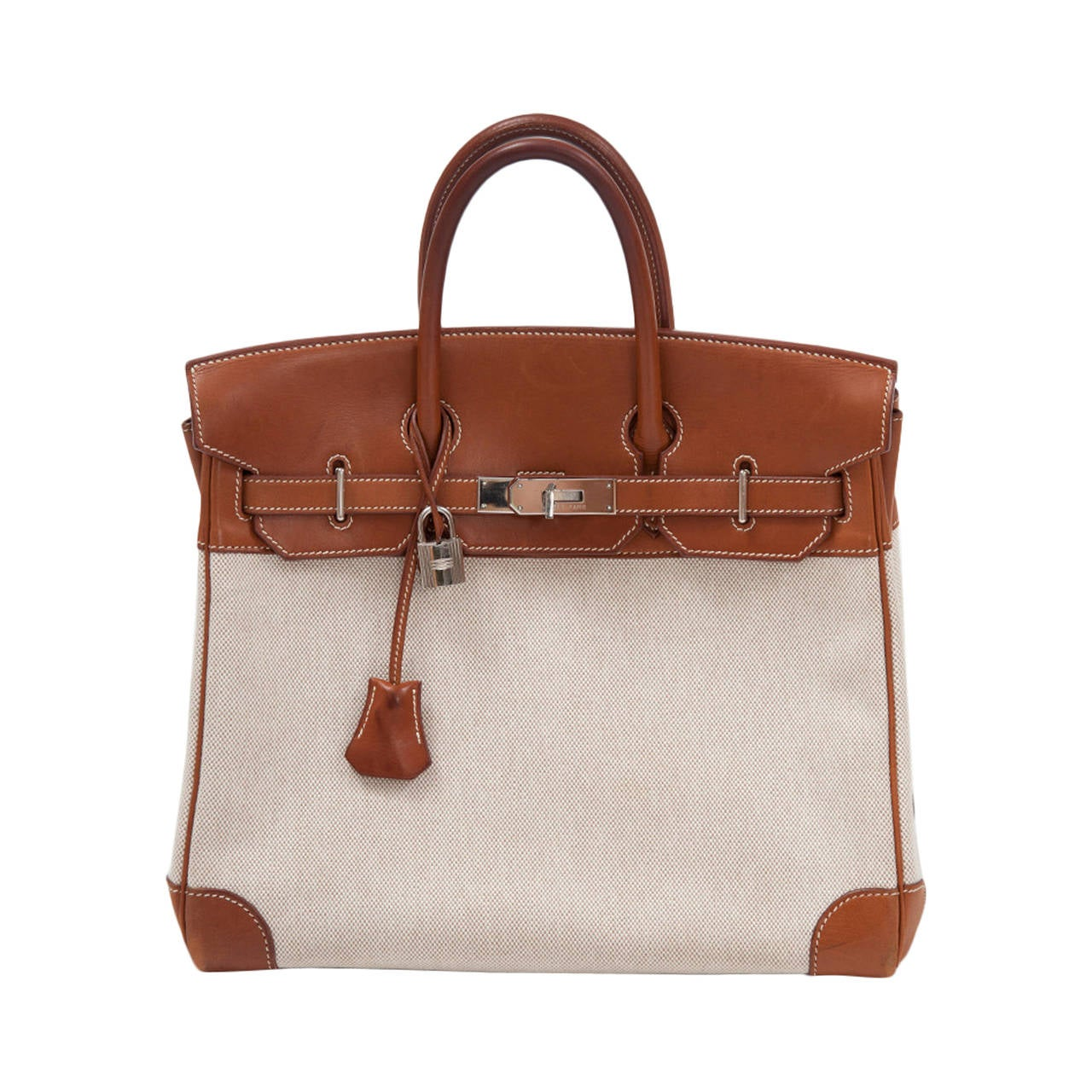 best replica hermes evelyne bag - Rare Hermes Toile and Natural Barenia Leather 30 cm Birkin Handbag ...