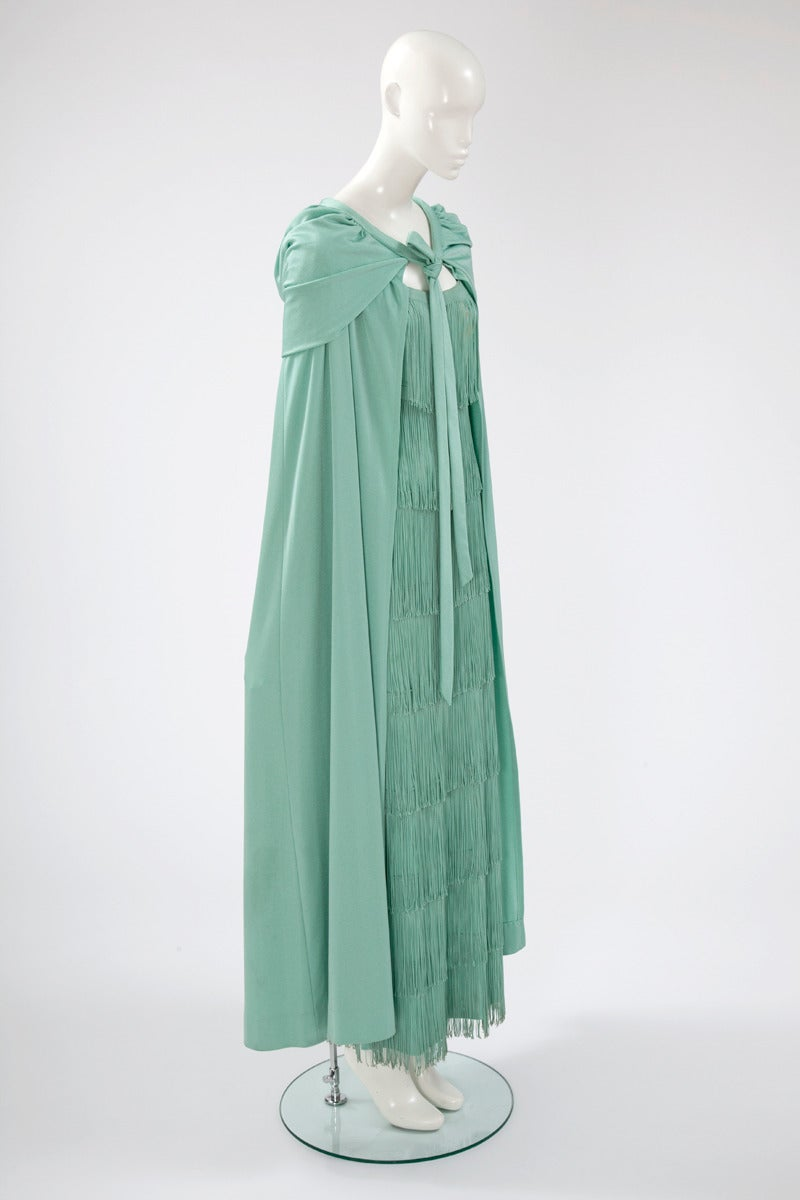 Loris Azzaro Fringed Evening Gown and Cape For Sale at 1stdibs